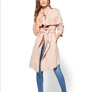 New York and co pink faux suede trench coat